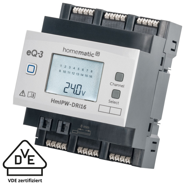 Homematic IP Wired 16-fach-Eingangsmodul HmIPW-DRI16, VDE zertifiziert