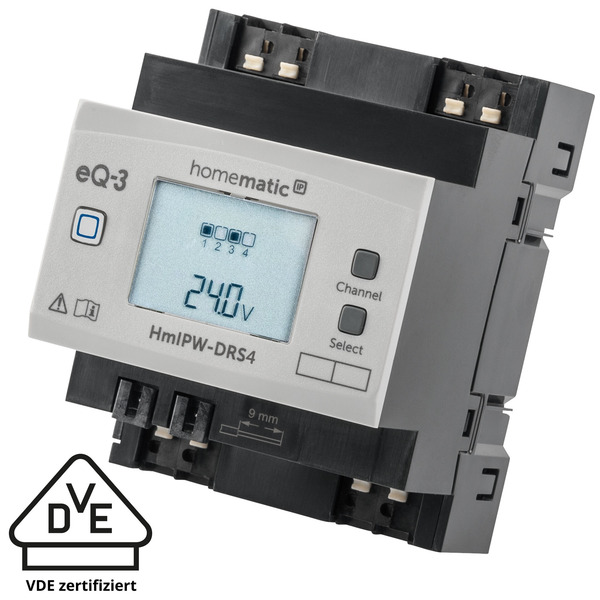 Homematic IP Wired 4-fach-Schaltaktor HmIPW-DRS4, VDE zertifiziert