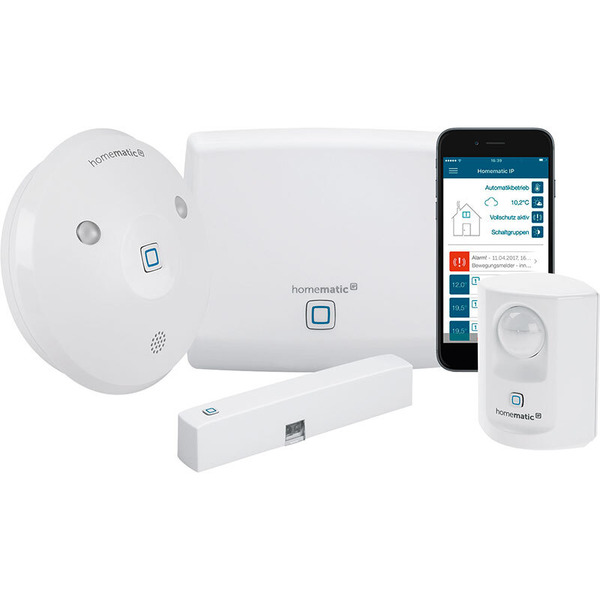 Homematic IP Starter-Set Alarm mit Access Point, Alarmsirene, Tür-/Fensterkontakt, Bewegungsmelder