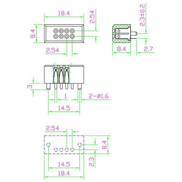 ELV Mini-Steckplatine mit Lötanschluss, 2 x 4 Kontakte (Buchsen)