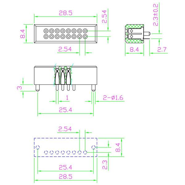 ELV Mini-Steckplatine mit Lötanschluss, 2 x 8 Kontakte (Buchsen)