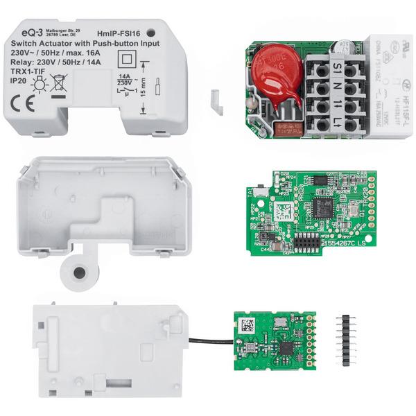 ELV Homematic IP Komplettbausatz Schaltaktor mit Tastereingang (16 A) HmIP-FSI16, Unterputz