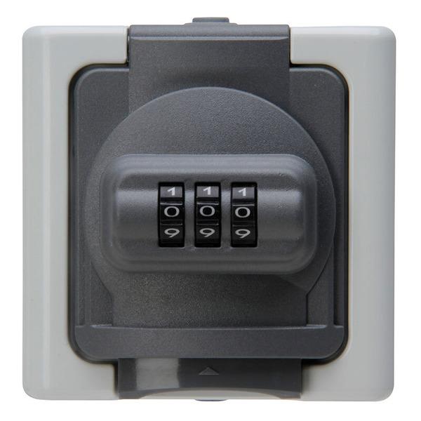 Kopp 3680-W-Außensteckdose mit Deckel und Zahlenschloss, IP44, grau