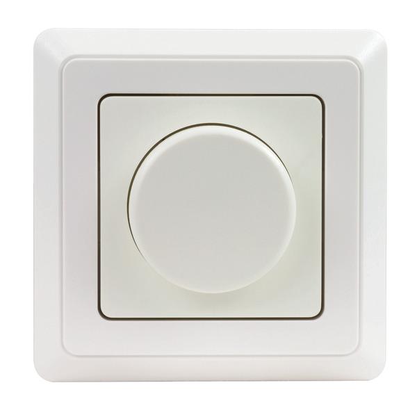 REV LED-Dimmer inkl. Rahmen, Phasenabschnitt, nur 5 W Mindestlast, Einbaumaß 50 x 50 mm