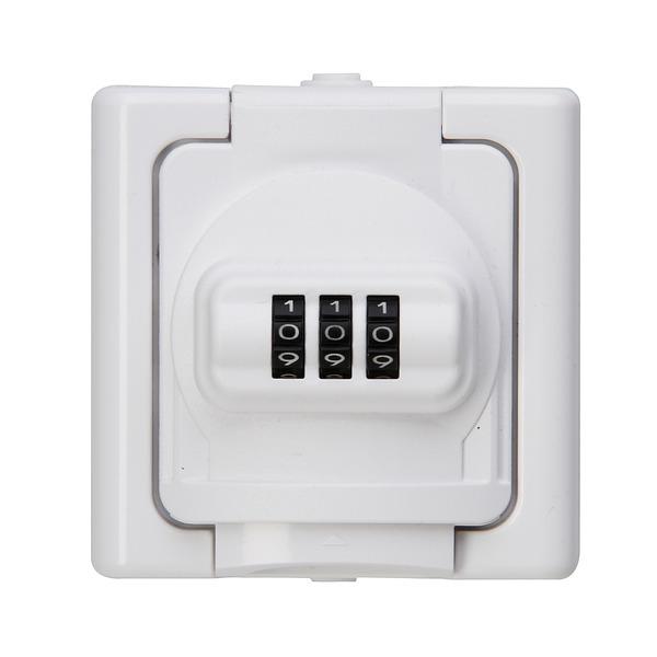 Kopp 3680-W-Außensteckdose mit Deckel und Zahlenschloss, IP44, weiß