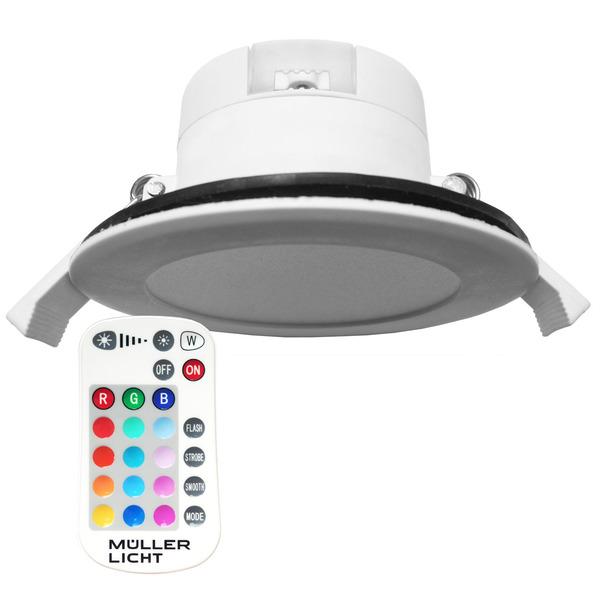 Müller Licht 7-W-RGBW-Downlight mit Fernbedienung, IP44