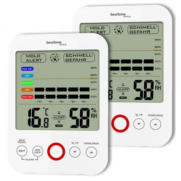 technoline Thermo-/ Hygrometer WS 9422, mit Klimakomfortanzeige und Schimmelalarm, weiß (2 Stück)