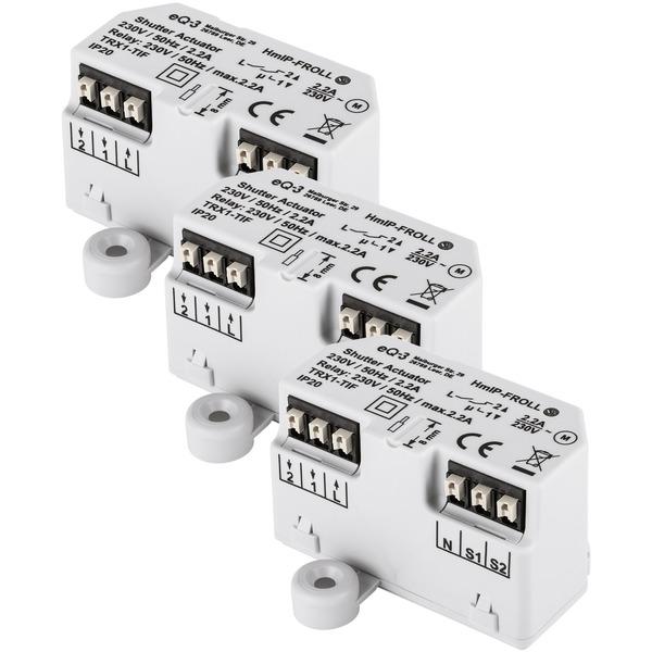 Homematic IP 3er Set Rollladenaktor HmIP-FROLL – Unterputz, auch für Markisenmotoren geeignet