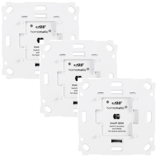 Homematic IP 3er Set Homematic IP Schalt-Mess-Aktor HmIP-BSM für Markenschalter