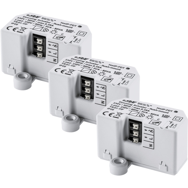 3er Set Homematic IP Dimmaktor Unterputz HmIP-FDT - Phasenabschnitt