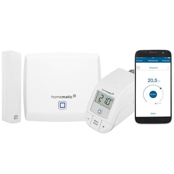 Homematic IP Starter-Set Raumklima Light mit Access Point, Heizungsregler easy connect und Fensterko