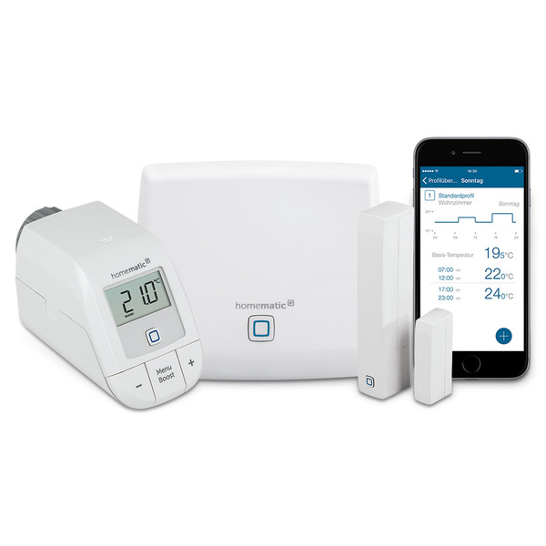 Homematic IP Starter-Set Raumklima Light mit Access Point, Heizungsregler easy connect und Fensterko