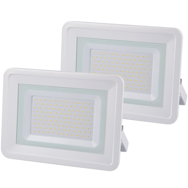2er Set Optonica 100-W-LED-Fluter, neutralweiß, 8.500 lm, IP65, 100° Abstrahlwinkel