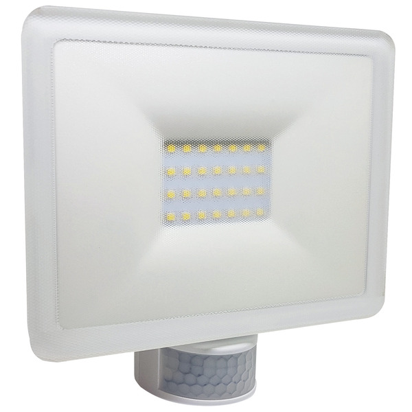 Sesam-Systems 20-W-Sensor-LED-Fluter mit 110°-Bewegungsmelder, weiß, IP54