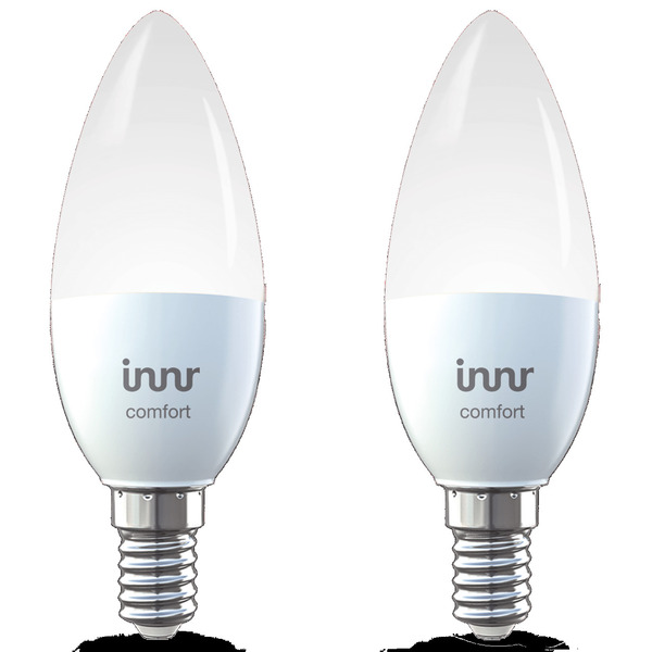 innr 2er Pack 5,8-W-LED-Kerzenlampe E14, tunable white, 470 lm,  kompatibel mit HUE, Echo Plus und E