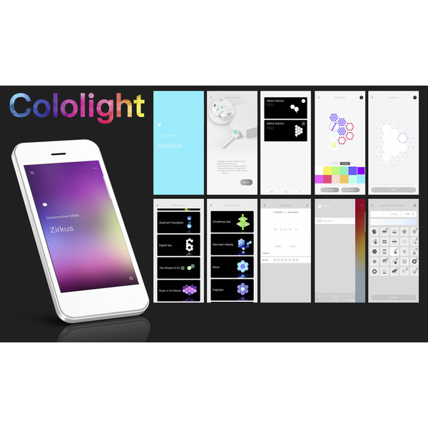 Cololight Starter-Set CL163 PRO, mit Hauptcontroller, 3x Lichtmodul und 1x Standsockel