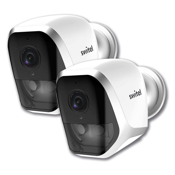 SWITEL WiFi-Überwachungskamera COIP202B, Batterie-/Akkubetrieb, App (iOS/Android), 720p, 2er-Set