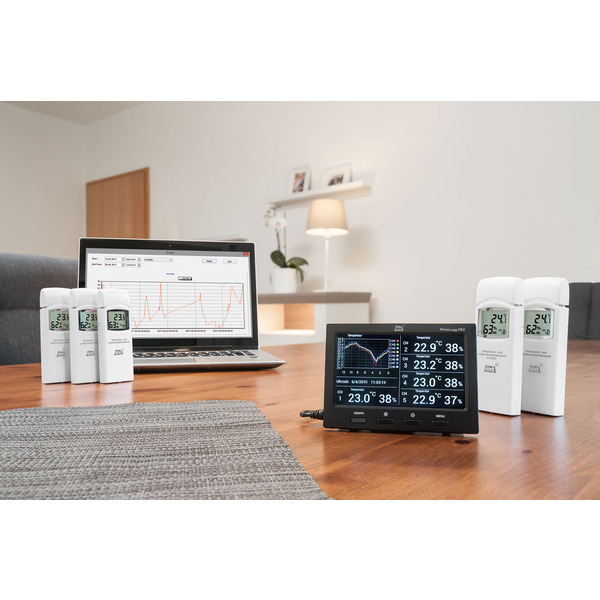 dnt Funk-Raumklimastation RoomLogg PRO, 868 MHz, inkl. 5 Thermo-/Hygrosensoren und Auswertesoftware