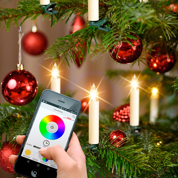 Kabellose WiFi-Baumkerzen mit App-Steuerung, RGBW, 10er-Set