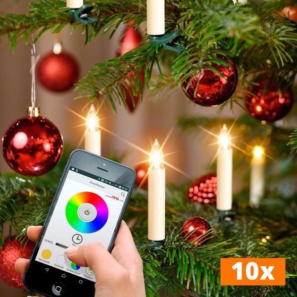 10er-Set Kabellose WiFi-LED-Baumkerzen mit App-Steuerung, RGBW