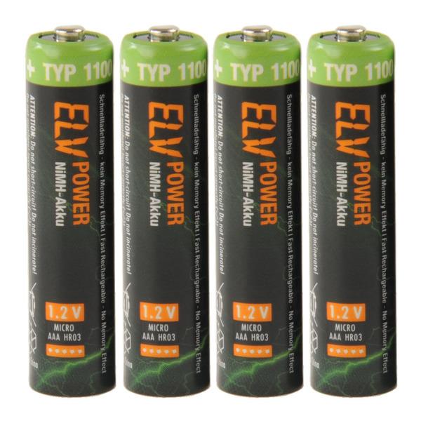 ELV Power NiMH-Akku Micro Typ 1100, 1050 mAh, 4er Pack