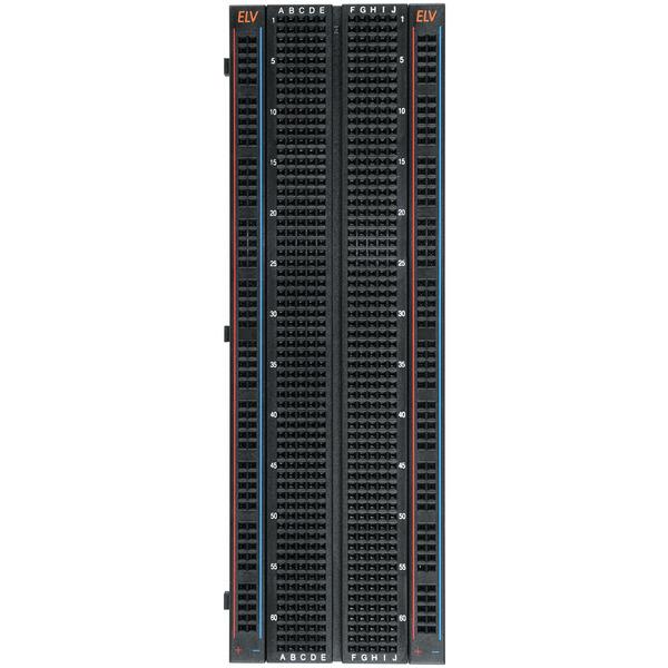 ELV Steckplatine/Breadboard mit 830 Kontakten, schwarze ELV-Version