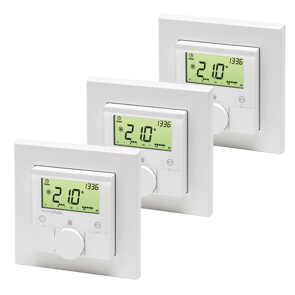 3er-Set Homematic Funk-Wandthermostat HM-TC-IT-WM-W-EU für Smart Home / Hausautomation