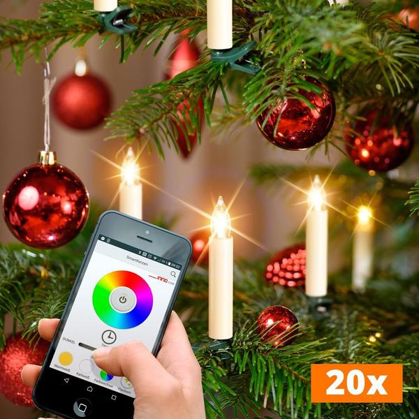 20er-Spar-Set Kabellose WiFi-LED-Baumkerzen mit App-Steuerung, RGBW