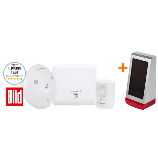 Spar-Set: Homematic IP Set Sicherheit – BILD-Edition + Homematic IP Alarmsirene HmIP-ASIR-O, außen