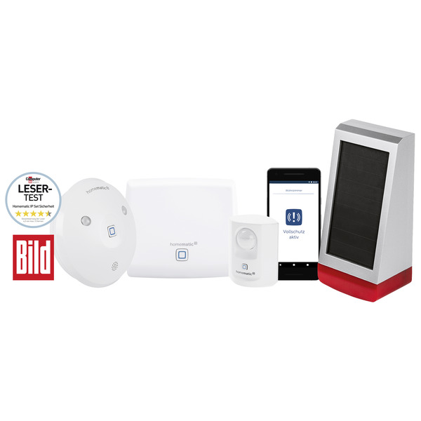 Spar-Set: Homematic IP Set Sicherheit – BILD-Edition + Homematic IP Alarmsirene HmIP-ASIR-O, Außen,