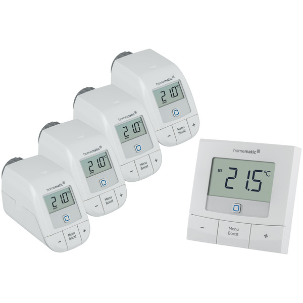 Homematic IP Set Heizen Basic XL, 4x Heizkörperthermostat HmIP-eTRV-B & 1x Wandthermostat HmIP-WTH-B