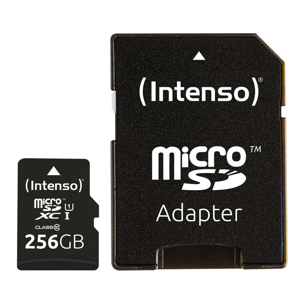 Intenso microSDXC-Karte UHS-I Premium, Class 10, mit SD-Adapter, 45 MB/S, 256 GB