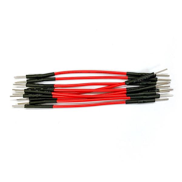 ELV hochwertiges Steckkabel Set, Stecker auf Stecker, 10 Stück, rot, 50 mm