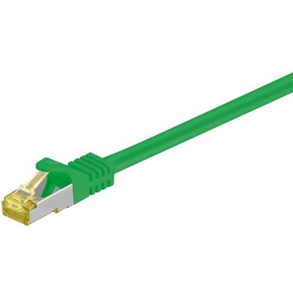 Goobay Patchkabel, Cat.7 Rohkabel, mit RJ45-Steckern (Cat.6a), S/FTP, halogenfrei, grün, 0,5 m