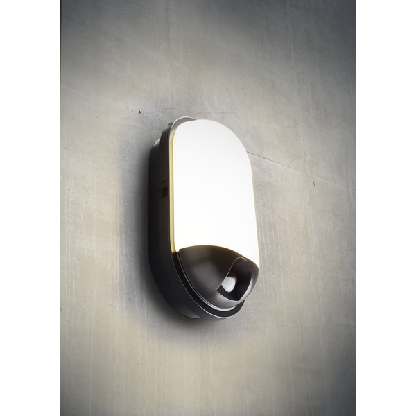 HEITRONIC 20-W-LED-Wand-/Deckenleuchte Toledo mit 120°-Bewegungsmelder, oval, IP65