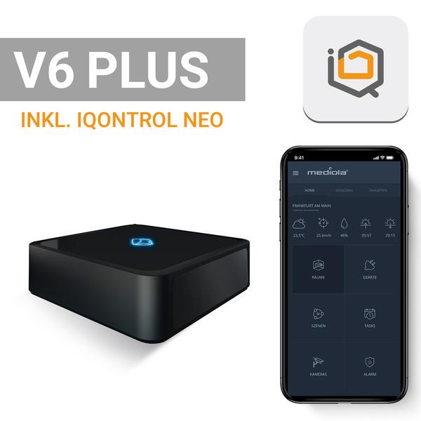 mediola AIO Gateway V6 Plus inkl. IQONTROL NEO-App (868 / 433 MHz, HmIP, EnOcean, IR, erweiterbar vi