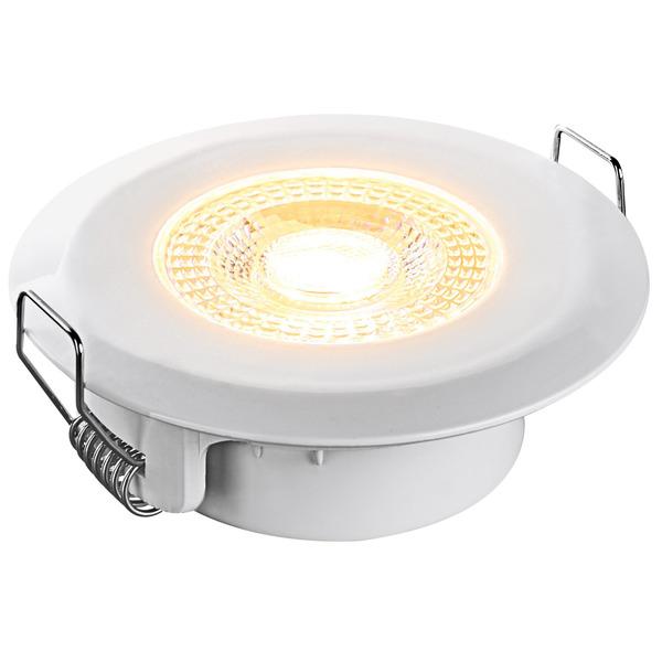 HEITRONIC 5-W-LED-Einbaustrahler DL7202, rund, weiß, dimmbar per Lichtschalter, IP44