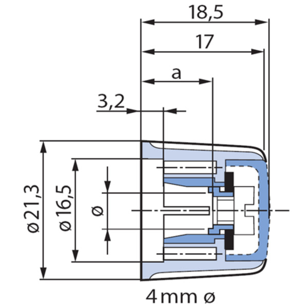 Spannzangen-Drehknopf, 21 mm Durchmesser für 6-mm-Achse