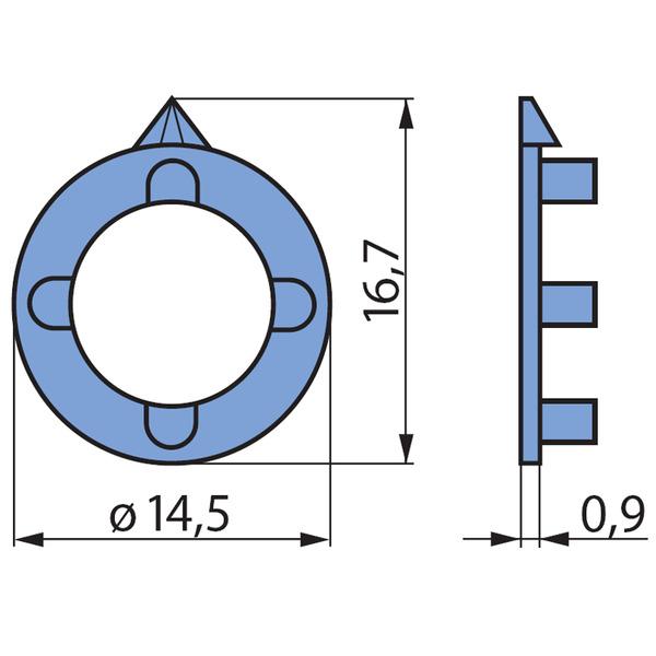 Pfeilscheiben, grau, für 14-mm-Spannzangen-Drehknopf