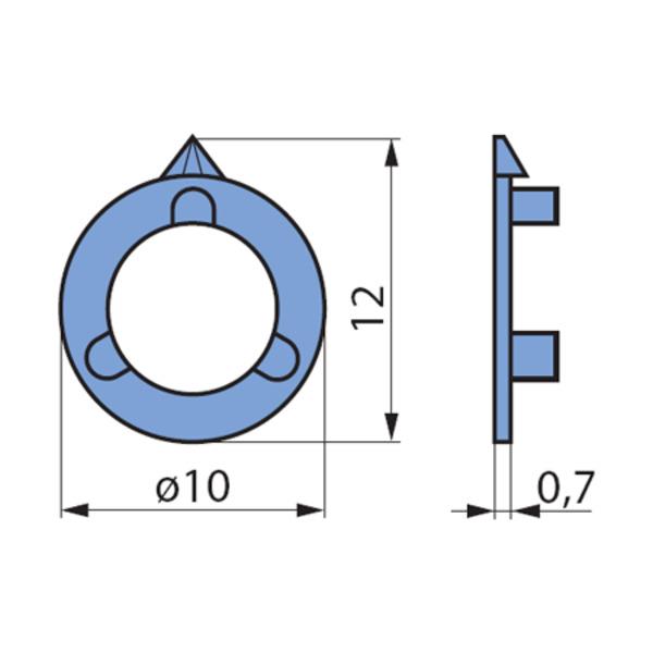 Pfeilscheiben, grau, für 10-mm-Spannzangen-Drehknopf