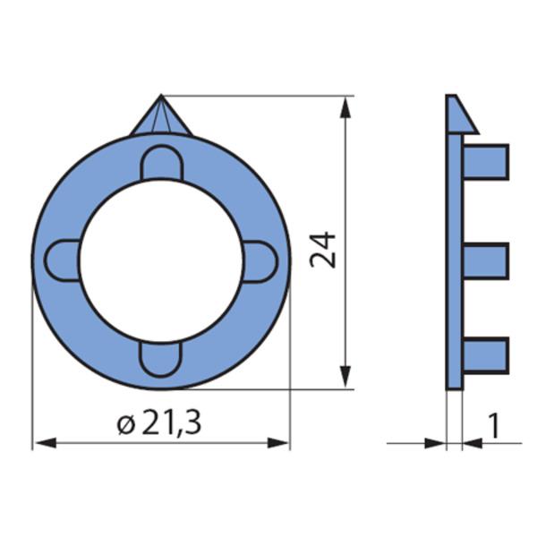 Pfeilscheiben, grau, für 21-mm-Spannzangen-Drehknopf