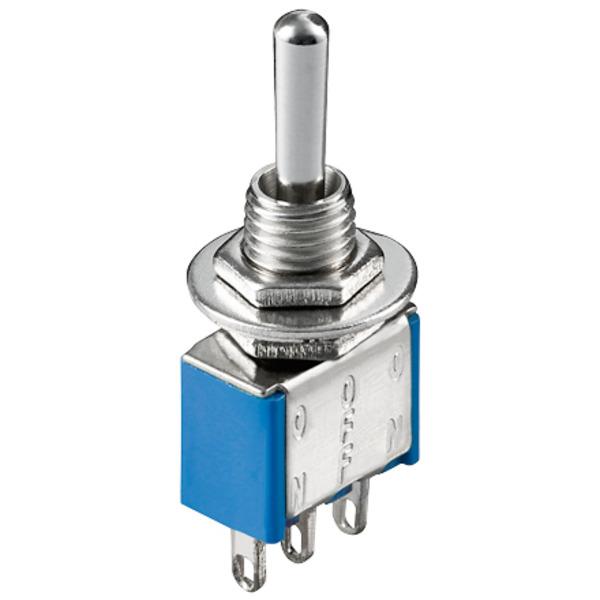 Miniatur-Kippschalter, 1 x um, 6 A/125 V oder 3 A/250 V, mit Mittelstellung