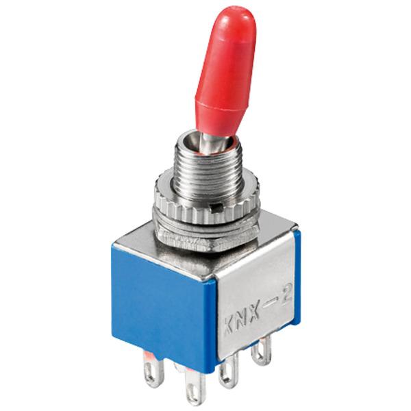 Miniatur-Kippschalter, 2 x um, 6 A/125 V oder 3 A/250 V