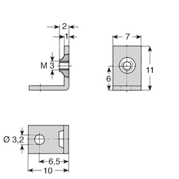 Befestigungswinkel, Seitenlänge ca. 10 mm, Breite 7 mm