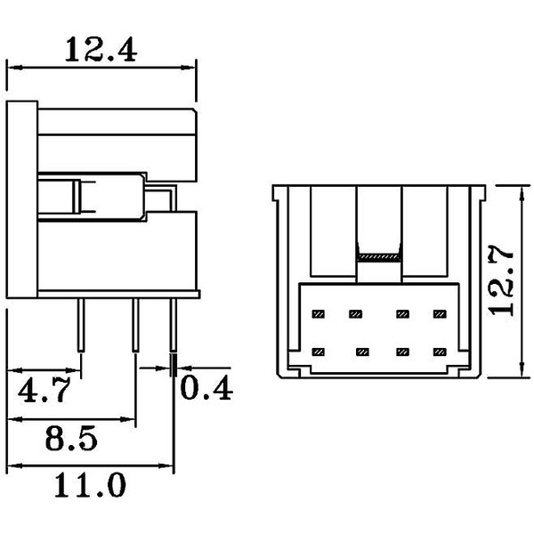 Mini-DIN-Einbaubuchse, 6-polig, Winkelprint