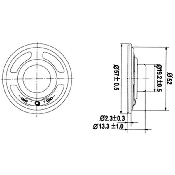 Kleinlautsprecher 57 mm, 8 Ohm, 0,25~1 W
