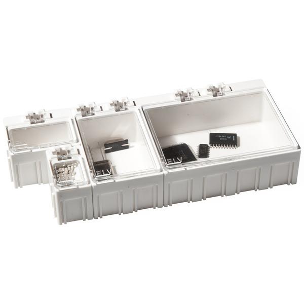 ELV 10er-Set SMD-Sortierbox, Altweiß, 23 x 15,5 x 27 mm