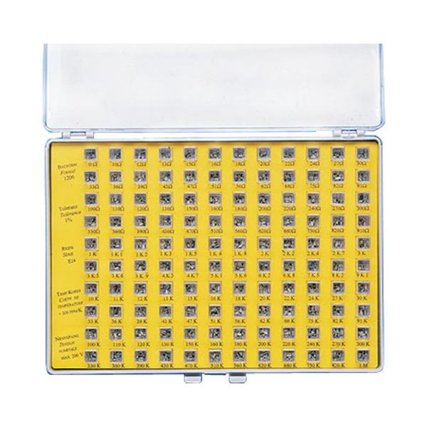 SMD-Widerstands-Sortiment 2 Reihe E 12 (60 Werte), je Wert 25 Stück, gesamt 1500 Stück, Größe 0805
