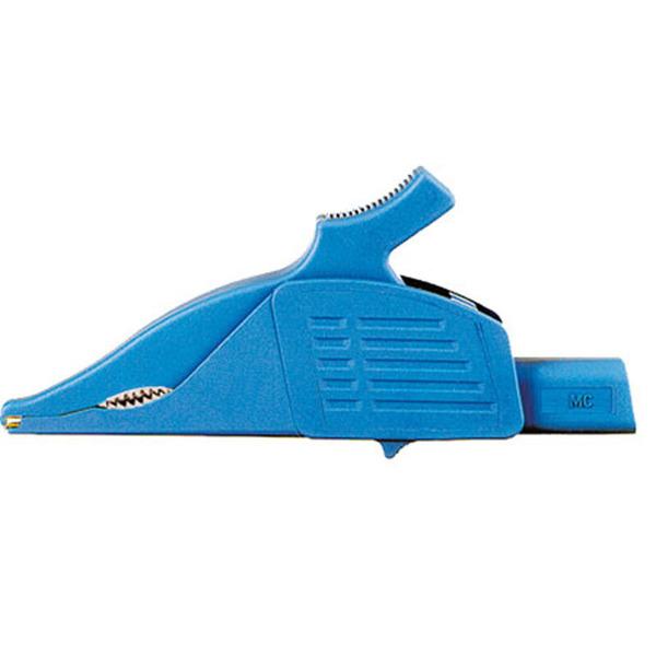 Sicherheits-Krokodilklemme XDK-1033, blau, 4 mm