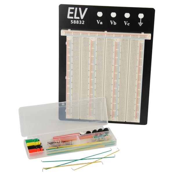 ELV Steckplatine/Breadboard 106 J, 2390 Kontakte, inkl. 140-teiligem Drahtbrücken-Set